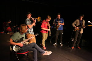Studio residents perform in the Blackbox Theatre during a Showcase event.
