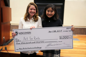 Yusi Liu and Alexandra Polach of Art En Route won the top prize of $2,000 at the 2017 Arts Business Competition.