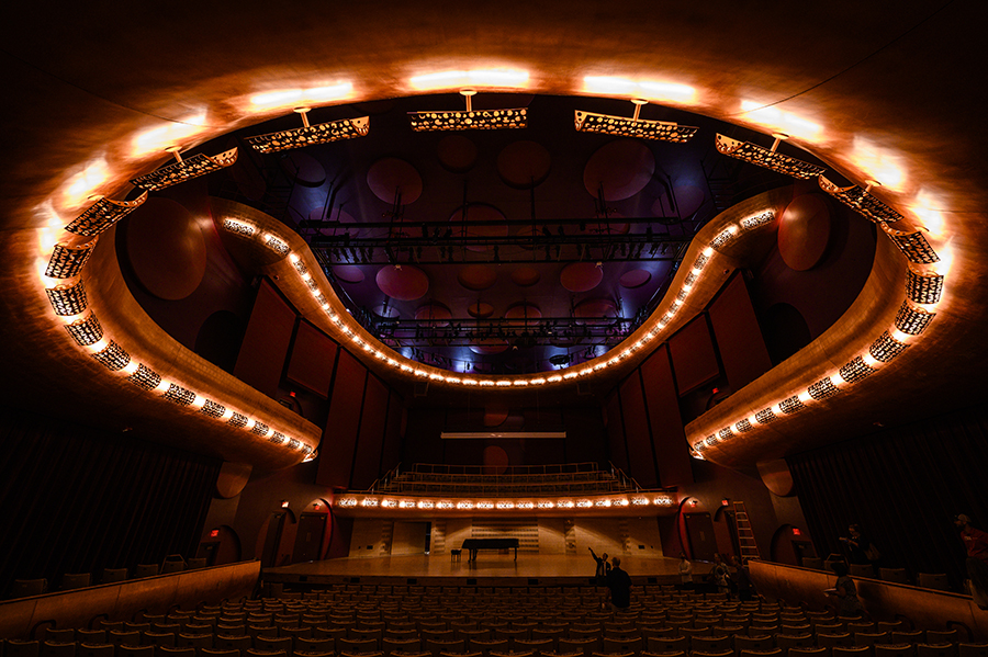 Interior of Hamel Music Center, with glowing circular lights on ceiling