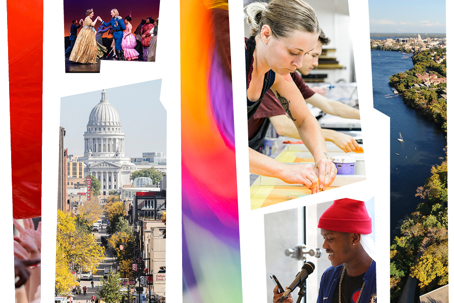 Collage featuring the Madison Capitol building and students creating and performing