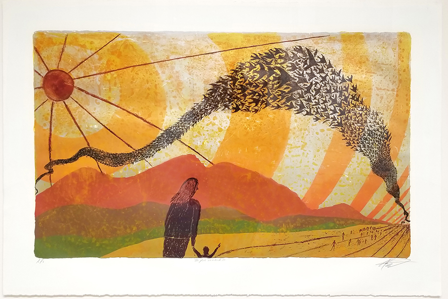 Painting featuring birds migrating in the sky while an onlooker stands in the foreground